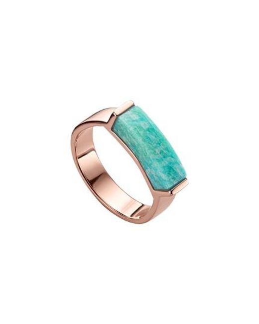 Gold Linear Stone Ring Amazonite Monica Vinader q89xqhW