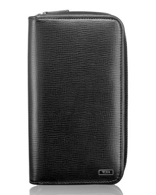 Tumi | Black Zip-around Leather Travel Wallet | Lyst