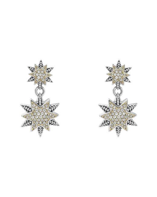 Lagos - Metallic 18k Gold & Sterling Silver North Star Diamond Double Drop Earrings - Lyst