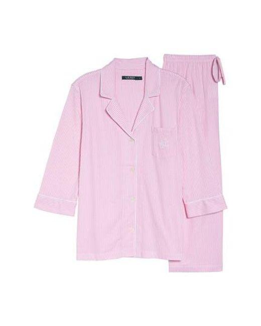 Lauren by Ralph Lauren | Pink Knit Crop Pajamas | Lyst
