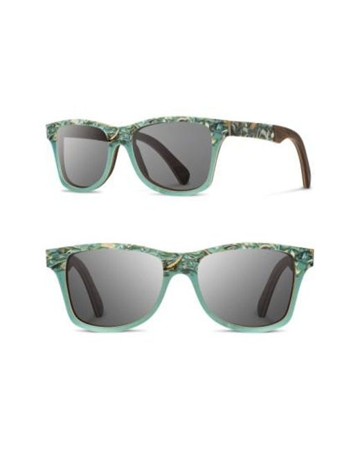 Shwood   Gray 'canby' 55mm Polarized Seashell & Wood Sunglasses - Seashell/ Grey Polar   Lyst