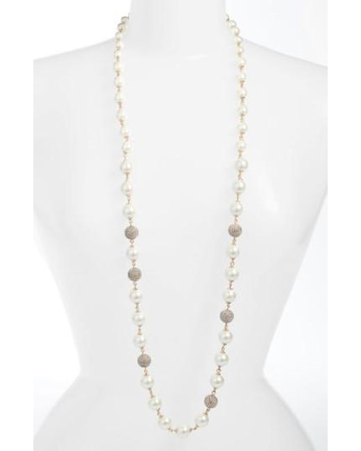 Jenny Packham | Metallic Long Imitation Pearl Necklace | Lyst