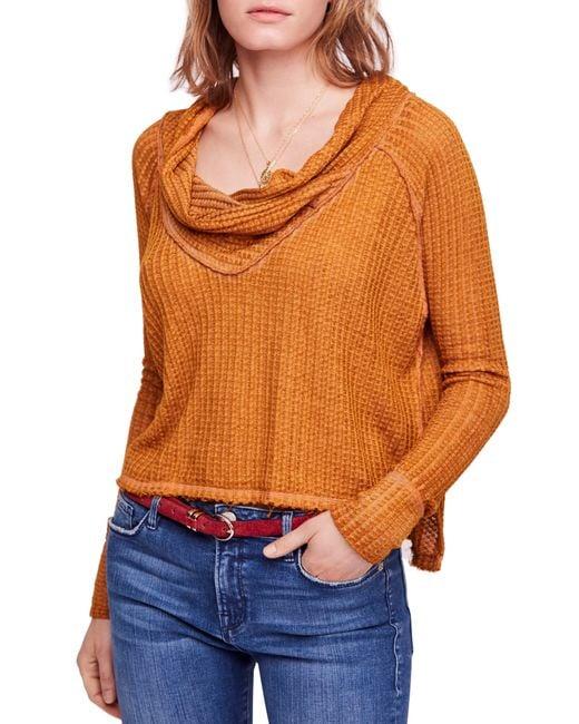 Free People - Orange Wildcat Thermal Top - Lyst