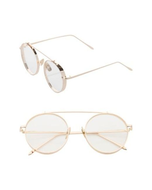 SUNNYSIDE LA | Metallic 55mm Round Sunglasses | Lyst