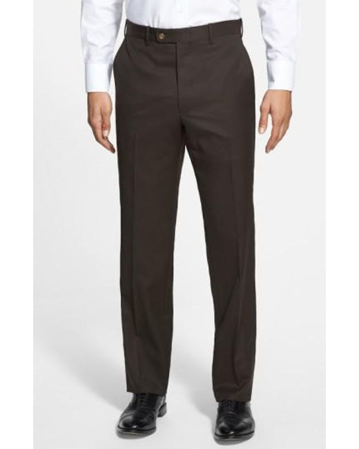 JB Britches | Brown Flat Front Worsted Wool Trousers for Men | Lyst