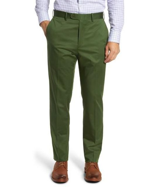 JB Britches | Green Flat Front Solid Stretch Cotton Trousers for Men | Lyst
