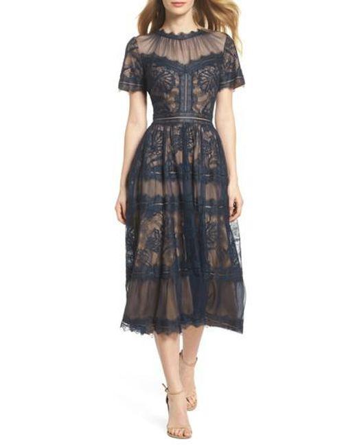 Tadashi Shoji - Blue Lace Tea-length Dress - Lyst