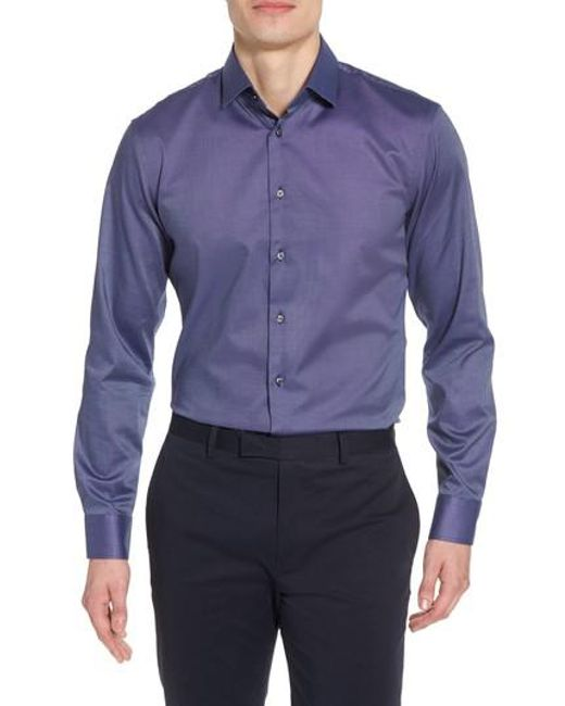 Calibrate - Multicolor Trim Fit Stretch Solid Dress Shirt for Men - Lyst