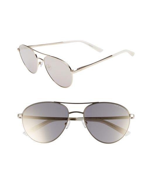 Ted Baker - Metallic 55mm Aviator Sunglasses - Lyst