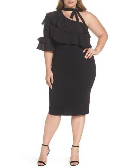 Lost Ink - Black One-shoulder Ruffle Dress - Lyst