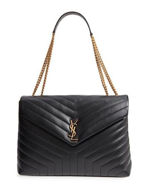 Saint Laurent - Black Large Lou Matelasse Calfskin Leather Shoulder Bag - - Lyst