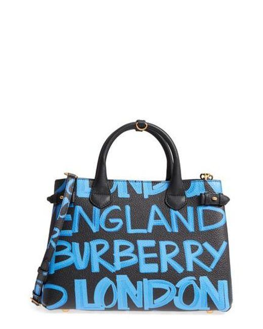 Burberry - Black Medium Banner Graffiti Leather Tote - Lyst