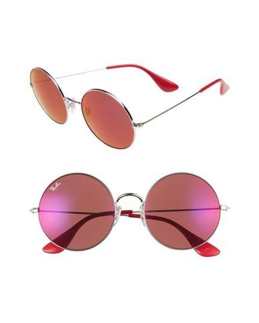 Ray-Ban | Metallic 55mm Round Sunglasses | Lyst