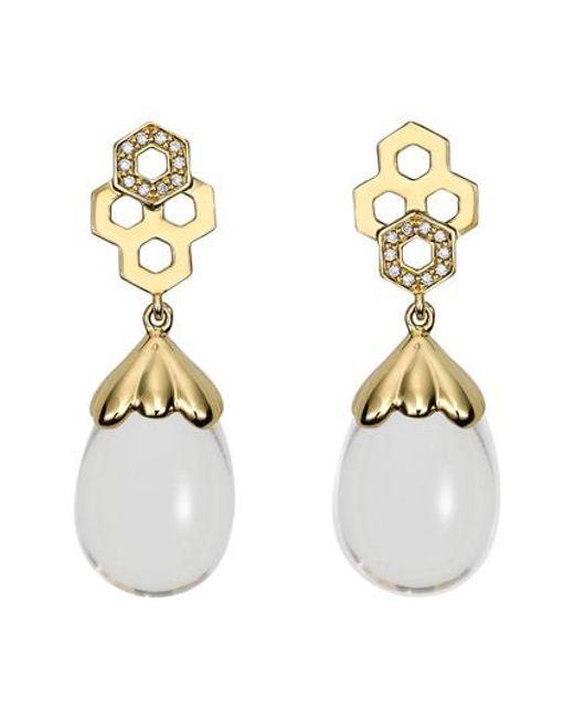 Temple St. Clair - Metallic Beehive Amulet Diamond Pave Earrings - Lyst
