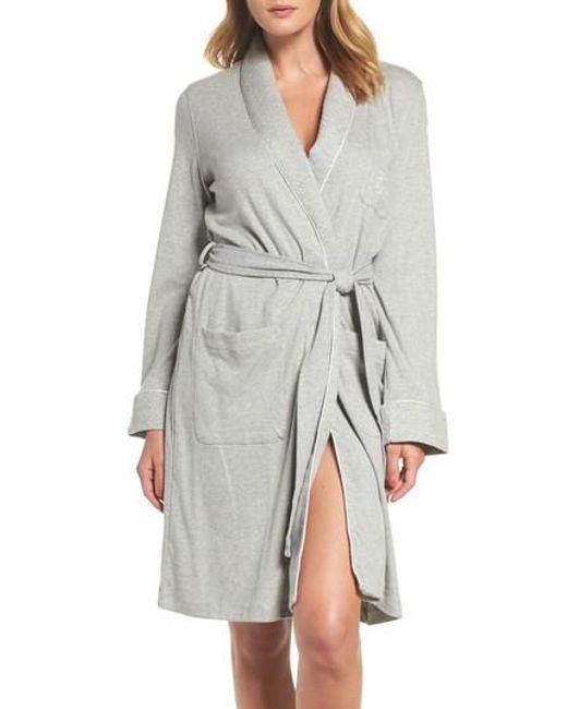 Lauren by Ralph Lauren - Gray Quilted Collar Robe - Lyst