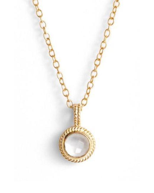 Anna Beck   Metallic Semiprecious Stone Round Drop Pendant Necklace   Lyst