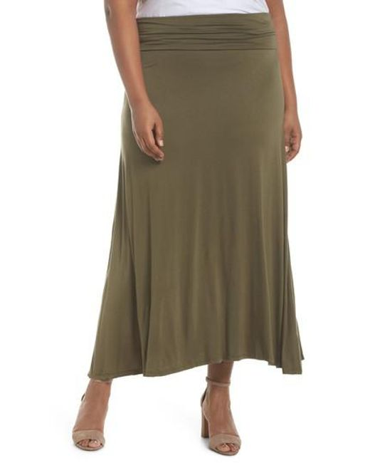 Soprano - Green Foldover Knit Skirt - Lyst