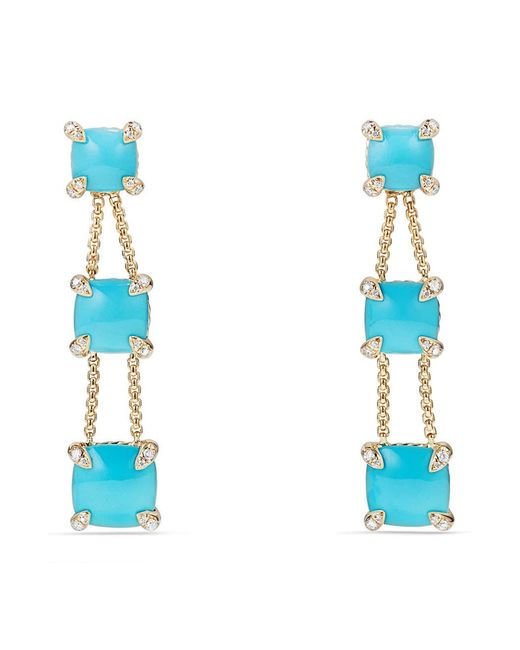 David Yurman - Blue Châtelaine Linear Chain Earrings In 18k Gold With Semiprecious Stone And Diamonds - Lyst