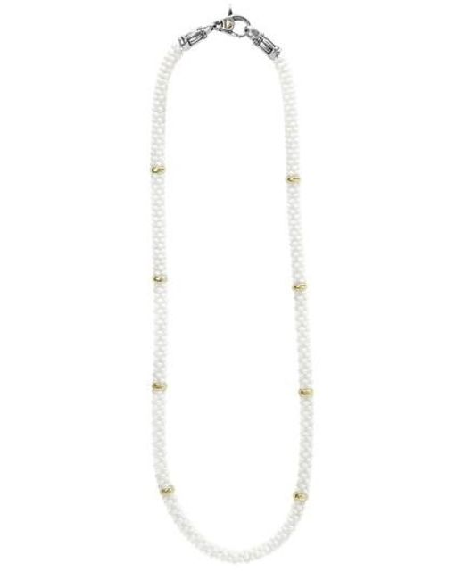 Lagos | Metallic 'white Caviar' 5mm Beaded Station Necklace | Lyst