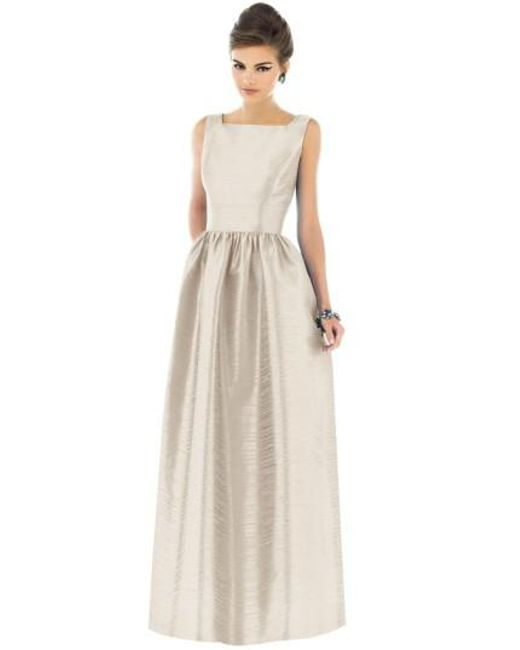 Alfred Sung - Metallic Square-Neck Dupioni Full-Length Dress - Lyst