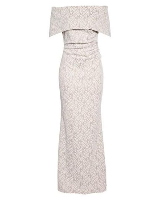 Lyst - Vince Camuto Off The Shoulder Lace Trumpet Gown in White