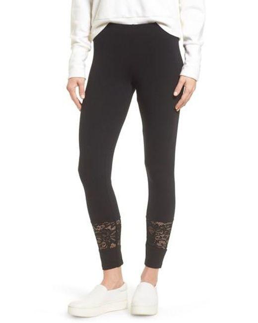 Hue | Black Lace Block Skimmer Leggings | Lyst