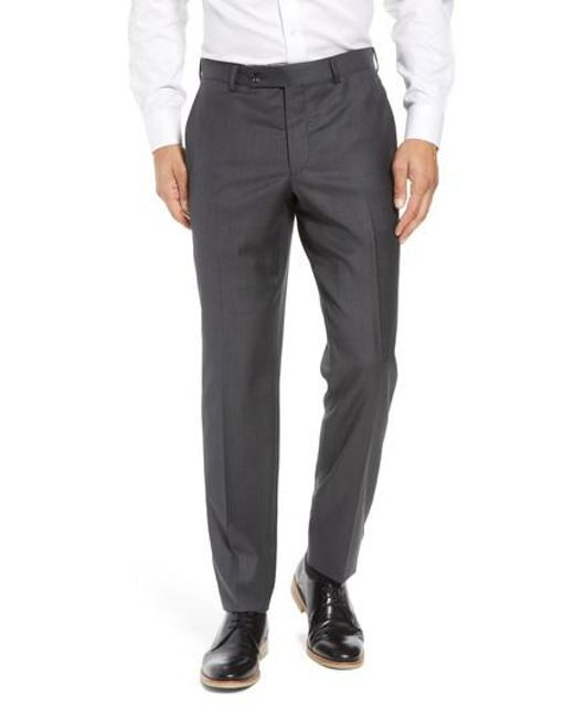 Ted Baker - Gray Jefferson Flat Front Wool Trousers for Men - Lyst