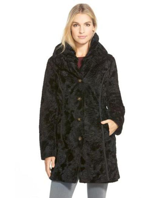 Laundry by Shelli Segal | Black Reversible Faux Persian Lamb Fur Coat | Lyst