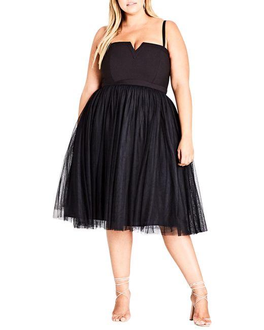 City Chic - Black Power Princess Fit & Flare Dress - Lyst