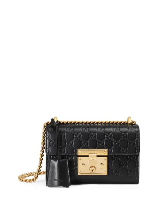 Gucci - Black Padlock Signature Leather Shoulder Bag - Lyst