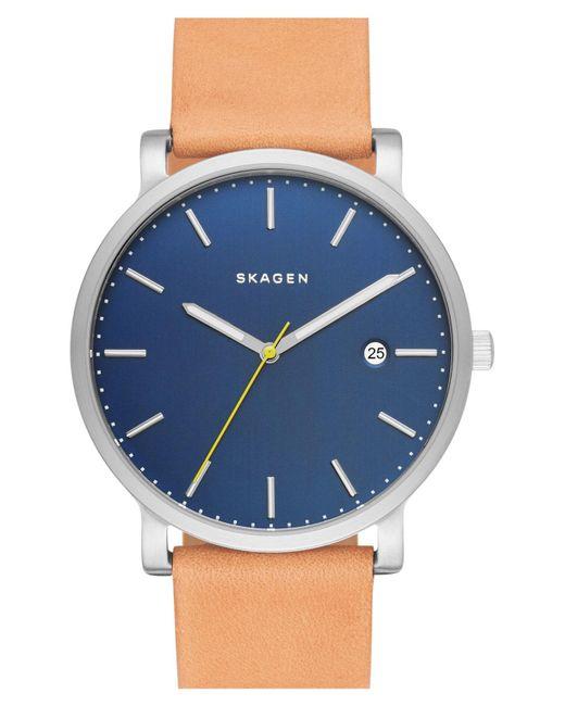 Skagen - Blue Hagen Leather Strap Watch - Lyst
