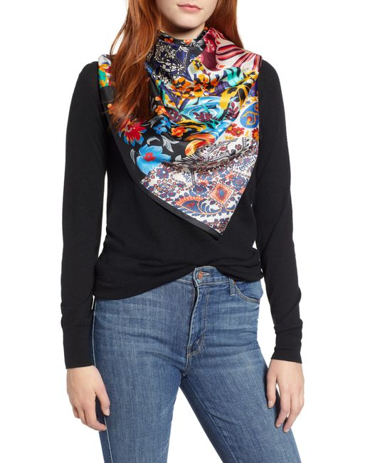 Echo - Multicolor Fall Patchwork Square Silk Scarf - Lyst