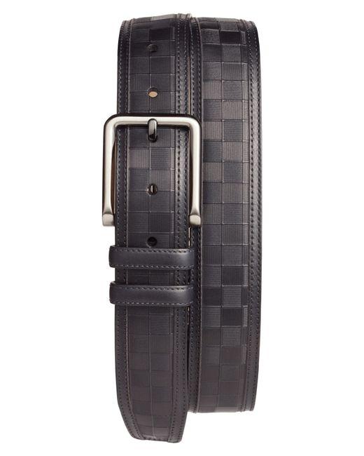 Mezlan - Black Check Leather Belt for Men - Lyst
