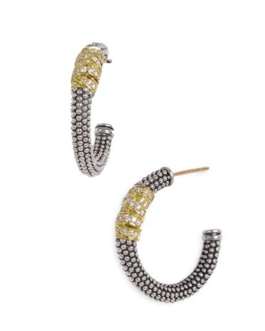 Lagos - Metallic Embrace Caviar™ Diamond Hoop Earrings - Lyst