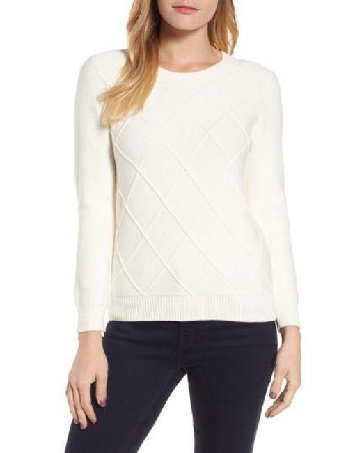 Draper James | White Argyle Dot Sweater | Lyst
