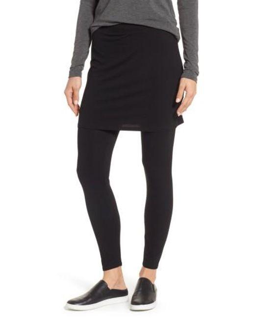 Eileen Fisher - Black Skirted Ankle Leggings - Lyst