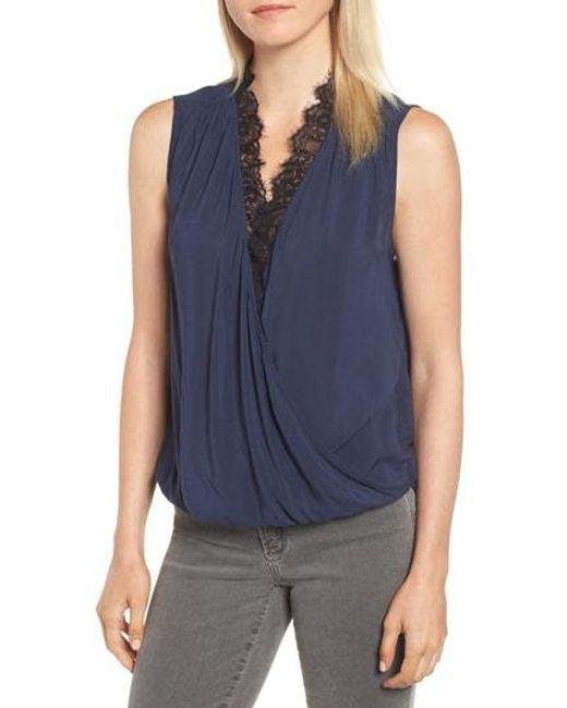 8966a6fa0f31b Lyst - Velvet By Graham   Spencer Lace Trim Sleeveless Blouse in Blue
