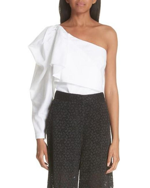 31d81b7760a Lyst - Stella Mccartney Ruffle One-shoulder Blouse in White