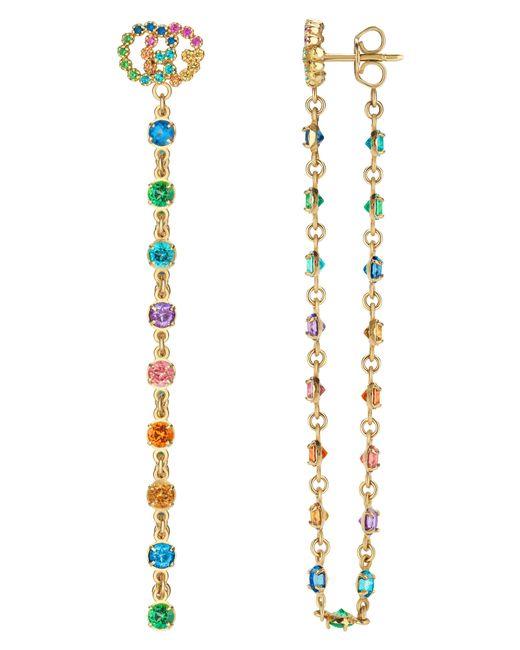 Gucci - Metallic Double-g Multistone Chain Stud Earrings - Lyst
