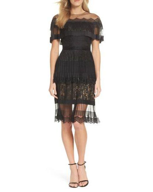 Tadashi Shoji - Black Pleated Lace Dress - Lyst