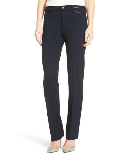 NYDJ | Blue Marilyn Straight Leg Ponte Pants | Lyst