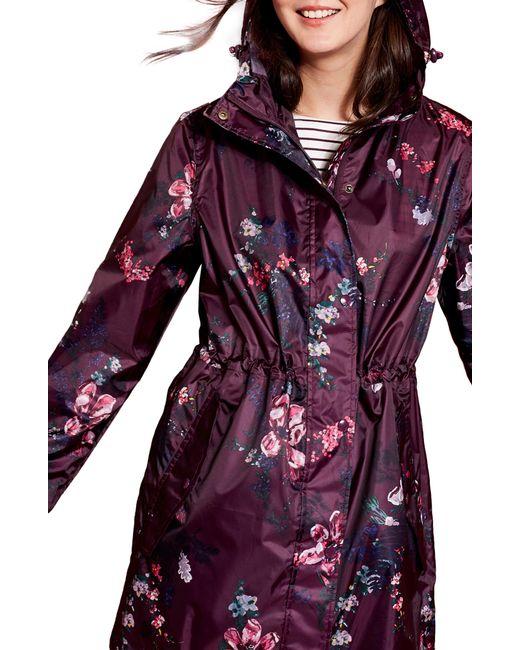 Joules - Right As Rain Packable Print Hooded Raincoat, Purple - Lyst