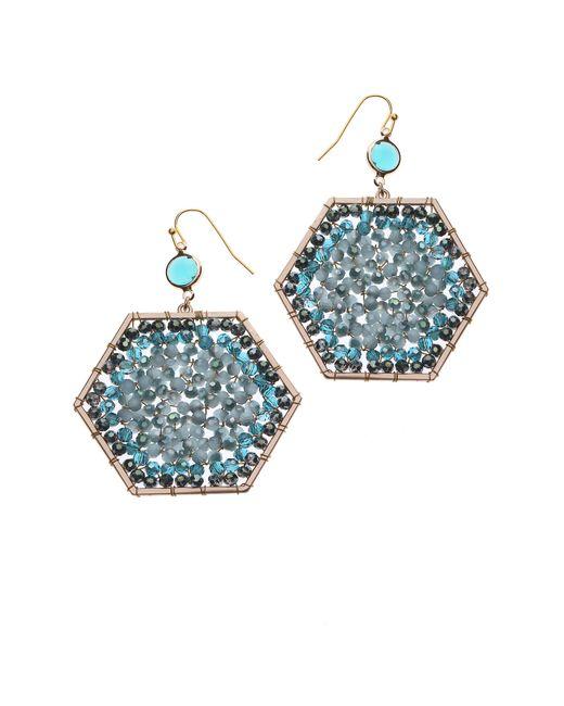 Nakamol - Blue Beaded Octagon Drop Earrings - Lyst