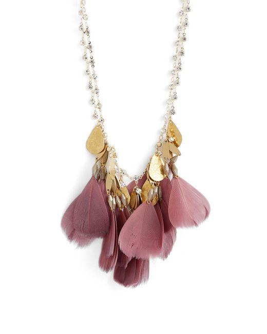 Serefina - Purple Crystal Feather Bib Necklace - Lyst