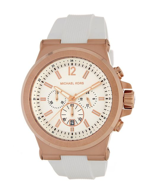 MICHAEL Michael Kors | White Men's Dylan Chronograph Leather Strap Watch for Men | Lyst