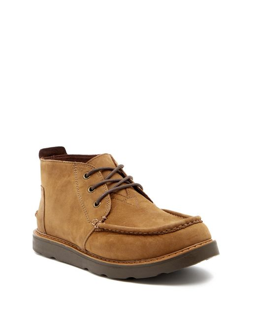 TOMS - Brown Leather Chukka Boot for Men - Lyst