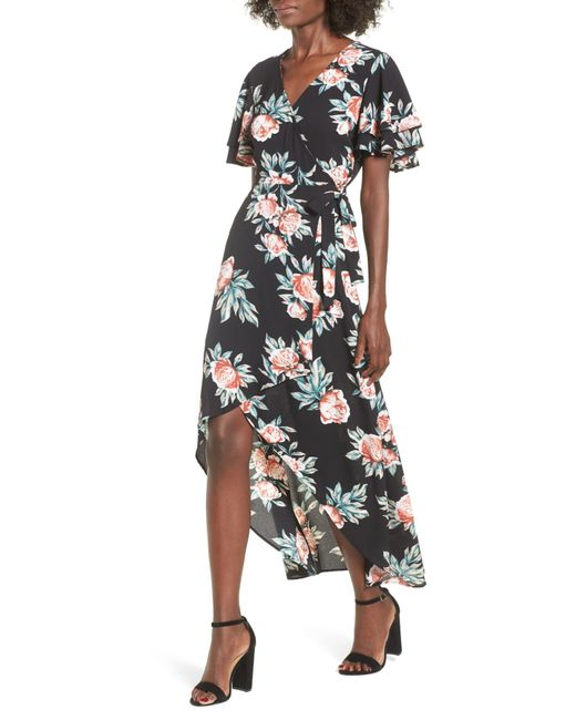 Mimi Chica - Black Ruffle Sleeve Floral Maxi Dress - Lyst