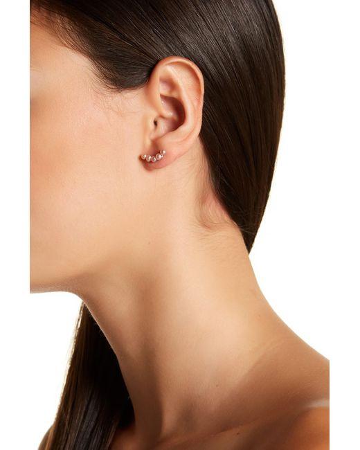 Splendid - 3mm Natural Pink Freshwater Pearl Climber Earrings - Lyst