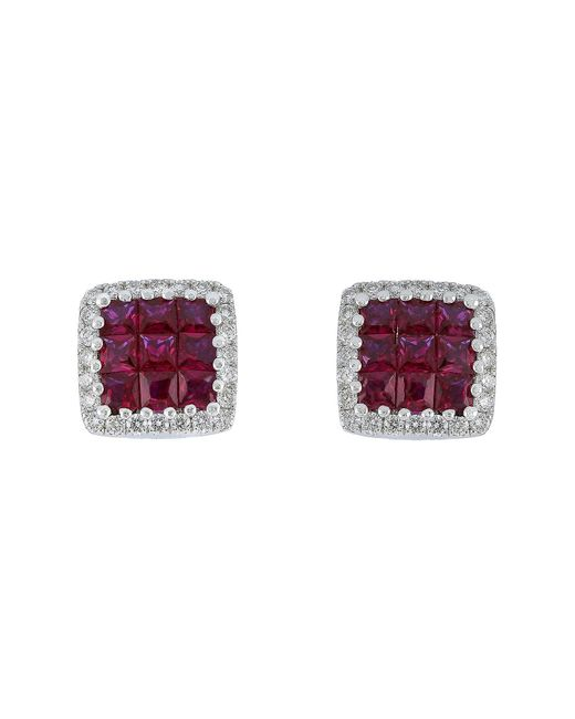 Bony Levy - Metallic 18k White Gold Invisibly Set Ruby & Pave Diamond Halo Square Stud Earrings - 0.19 Ctw - Lyst