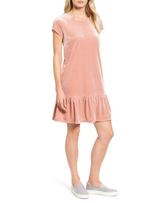 Halogen   Pink Drop Ruffle Velvet Dress   Lyst